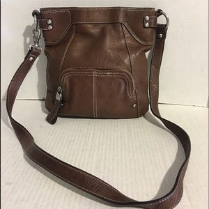 B. Makowsky Brown leather crossbody handbag